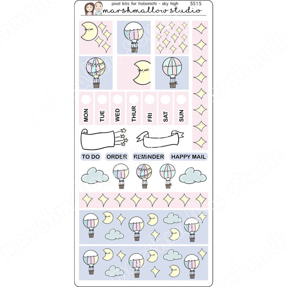 HOBONICHI WEEKS KIT - SKY HIGH - PLANNER STICKERS S515 - Marshmallow Studio