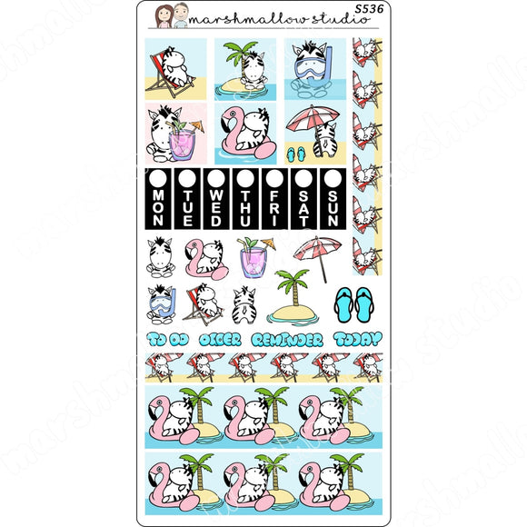 HOBONICHI WEEKS KIT - ZEBRA - PLANNER STICKERS S536 - Marshmallow Studio