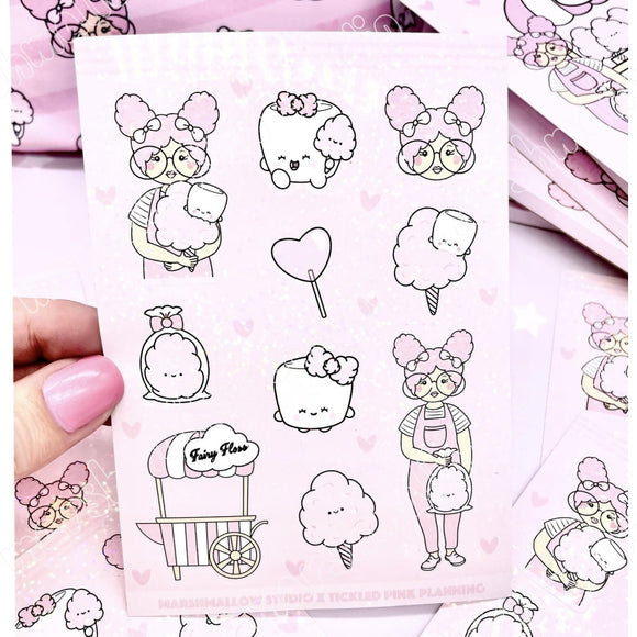 HOLO STICKER SHEET ~ FAIRY FLOSS ~ TICKLEDPINKPLANNING COLLAB ~ LIMITED EDITION - Marshmallow Studio