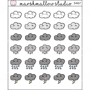 JUST CLOUDS! - WEATHER - PLANNER STICKERS S467 - Marshmallow Studio