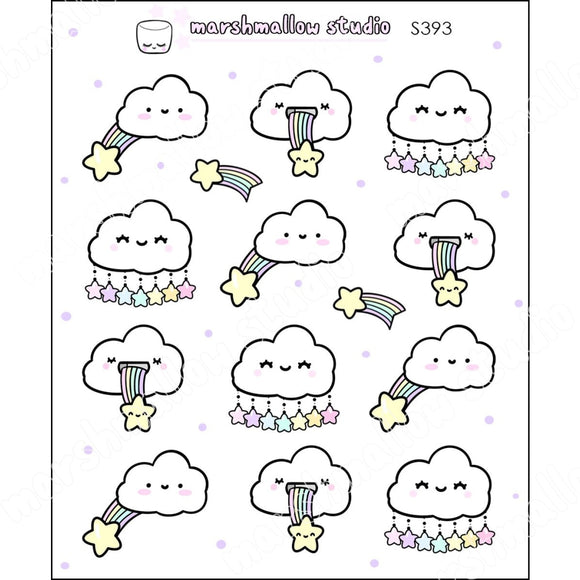 JUST HAPPY CLOUDS - PLANNER STICKERS - S393 - Marshmallow Studio