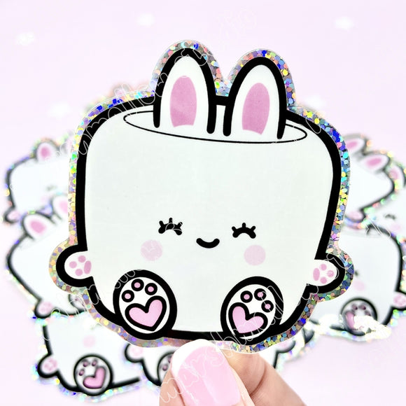 *LIMITED EDITION* ~ COCOA BUNNY HOLOGRAPHIC GLITTER VINYL STICKER - Marshmallow Studio