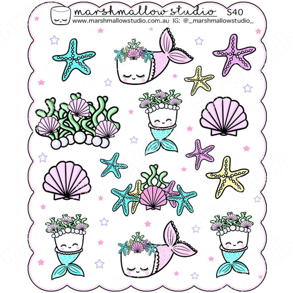 MERMALLOW - SCALLOPED DECO SHEET - PLANNER STICKERS - S40 - Marshmallow Studio