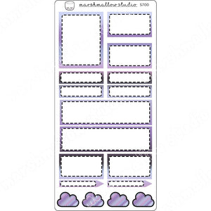 MIDNIGHT - STITCHED FUNCTIONAL BOXES - PLANNER STICKERS - S700 - Marshmallow Studio
