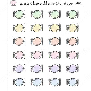 MINI STICKERS - RAINBOW DINNER PLATE - PLANNER STICKERS - S461 - Marshmallow Studio