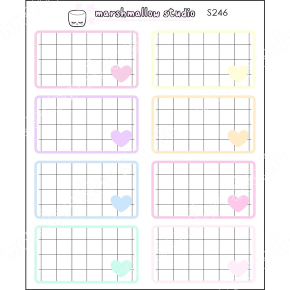 PASTEL RAINBOW GRID BOXES - BASICS - PLANNER STICKERS - 246 - Marshmallow Studio