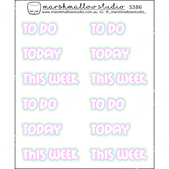 PASTEL SCRIPT - TO DO / TODAY / THIS WEEK - PLANNER STICKERS - S386 - Marshmallow Studio