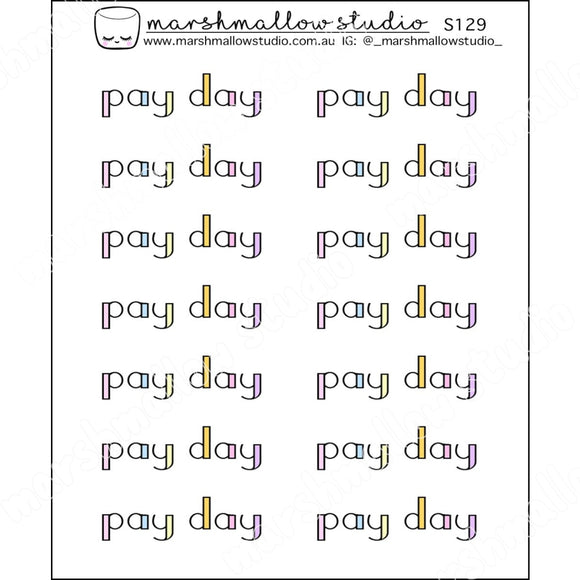 PAY DAY - RAINBOW SCRIPT - PLANNER STICKERS - S129 - Marshmallow Studio
