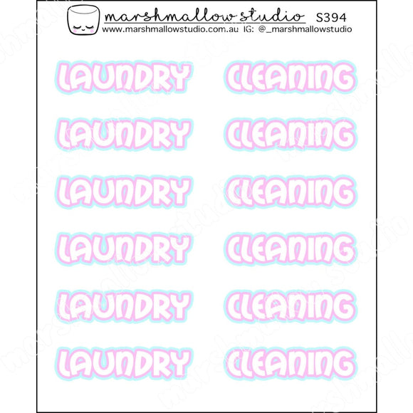 PINK & BLUE SCRIPT - LAUNDRY / CLEANING - PLANNER STICKERS - S394 - Marshmallow Studio