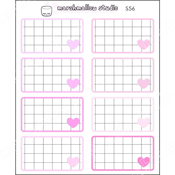 PINK GRID BOXES - BASICS - PLANNER STICKERS - S56 - Marshmallow Studio