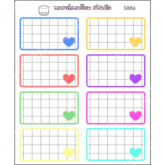 PRIMARY RAINBOW GRID BOXES - BASICS - PLANNER STICKERS - S886 - Marshmallow Studio