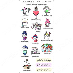 PUBLIC HOLIDAYS & NOTABLE DAYS - PLANNER STICKERS - S651 - Marshmallow Studio