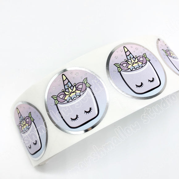 PURPLE FOILED SEALS - STRIP OF 4 - LIMITED EDITION - Marshmallow Studio