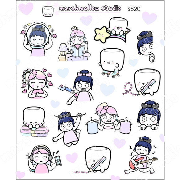 SAMPLER SHEET - DEBBIE, SHEILA & COCOA - PLANNER STICKERS - S820 - Marshmallow Studio