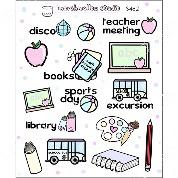 SCHOOL SAMPLER - PLANNER STICKERS - S482 - Marshmallow Studio