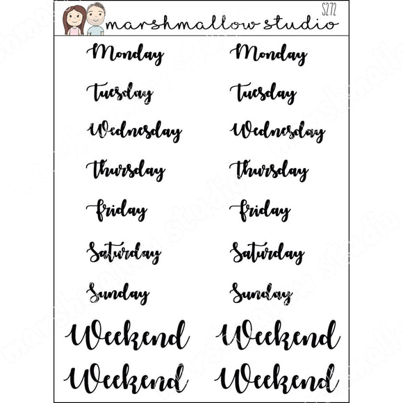 SCRIPT WEEK DAYS PLANNER STICKERS S272 - Marshmallow Studio