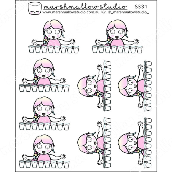 SHEILA SUGAR - 8 GLASSES A DAY! - PLANNER STICKERS - S331 - Marshmallow Studio