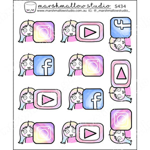 SHEILA SUGAR - WATERCOLOUR SOCIAL MEDIA ICONS - PLANNER STICKERS - S434 - Marshmallow Studio
