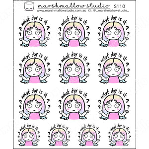 SHEILA SUGAR - WHAT DAY IS IT?? - PLANNER STICKERS - S110 - Marshmallow Studio