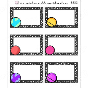 SPACE PLANETS - HALF BOXES - PLANNER STICKERS - S232 - Marshmallow Studio