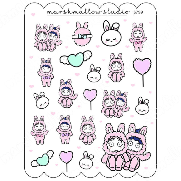 SPECIAL DECO SHEET - FLUFFIES - PLANNER STICKERS S799 - Marshmallow Studio