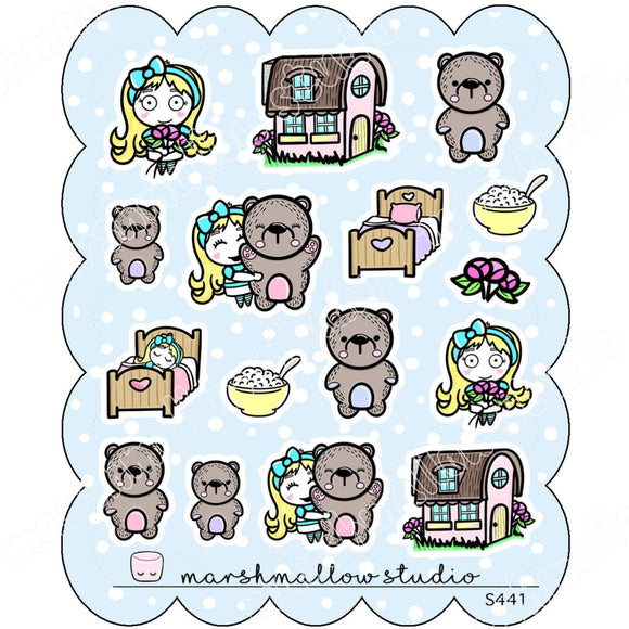 SPECIAL DECO SHEET - SHEILA & THE 3 BEARS - PLANNER STICKERS - S441 - Marshmallow Studio
