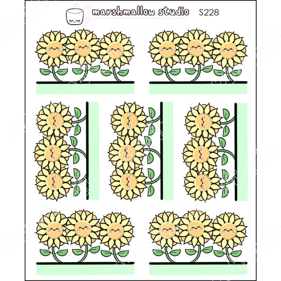 Sunflower Border Stickers - Planner S228 New Releases