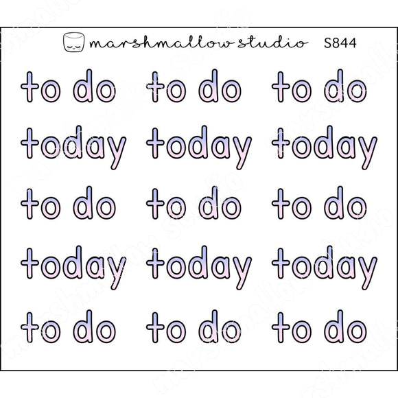 TO DO / TODAY SCRIPT - PINK & DUSK BLUE - PLANNER STICKERS - S844 - Marshmallow Studio