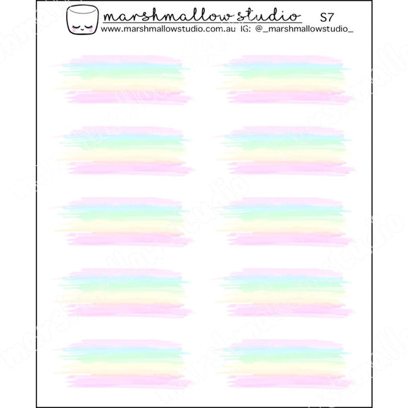 WATERCOLOUR SWATCHES - PASTEL RAINBOW - PLANNER STICKERS - S7 - Marshmallow Studio