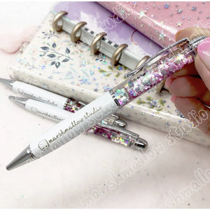 WHITE PEARL - EXCLUSIVE PEN - FLOATING SEQUINS - LIMITED EDITION - Marshmallow Studio