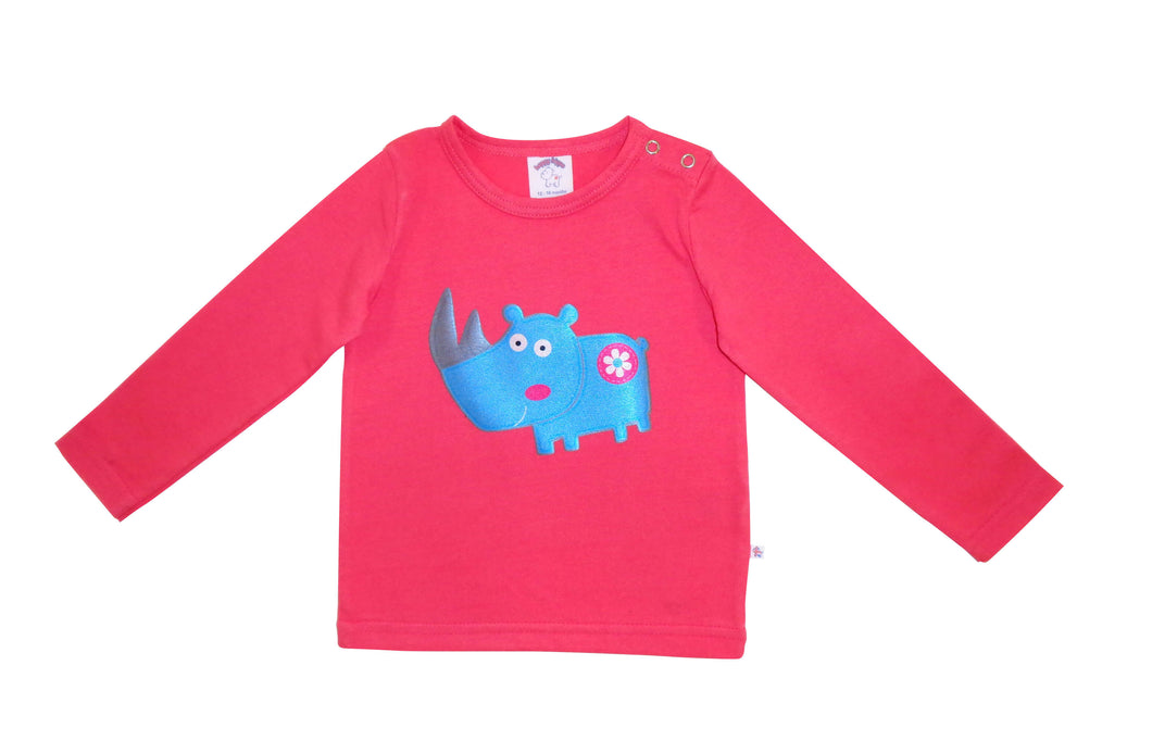 Rebecca rhino pink long sleeved t-shirt