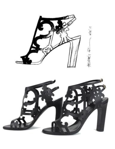 Hermes Keira Black Scroll Cut Out Leather Sandals Size 37.5