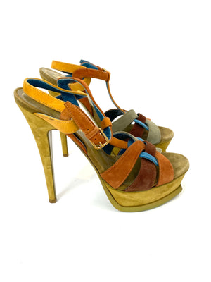 YSL Suede Multi Color Tribute Shoes Size 36.5