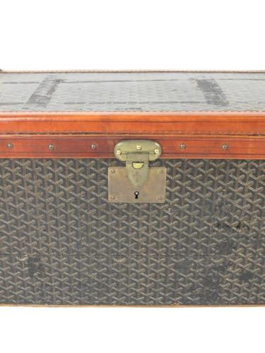 Goyard Antique Monogram Leather Steamer Trunk with Initials SWC