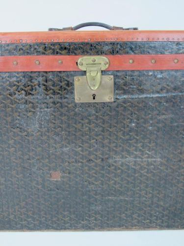 Goyard Antique Monogram Leather Steamer Trunk with Initials LMI Luggage