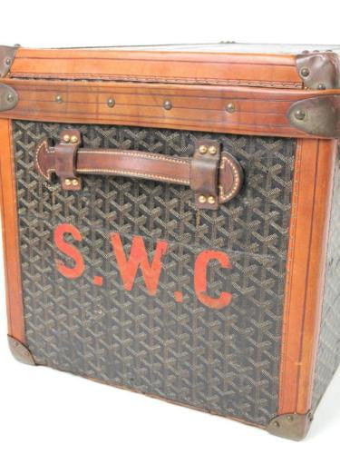 Goyard Antique Monogram Leather Steamer Trunk with Initials SWC Luggage