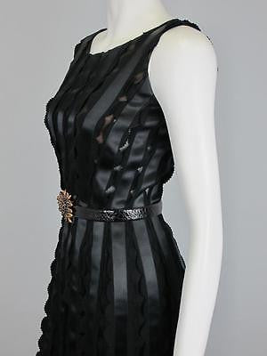 Oscar de la Renta Black Silk Ribbon Sleeveless Long Gown Leather Jewel Belt Sz 2
