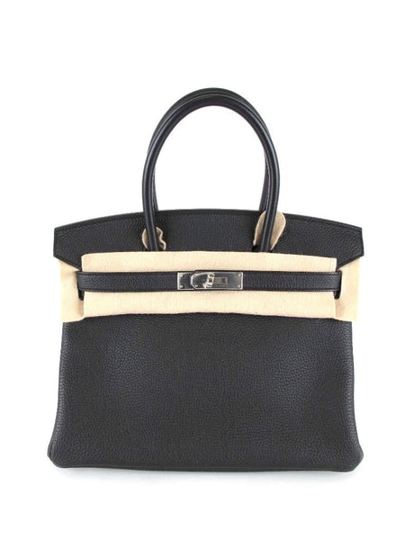 Hermes New 30 cm Black Togo Birkin Bag Palladium Hardware in Plastic Q Stamp