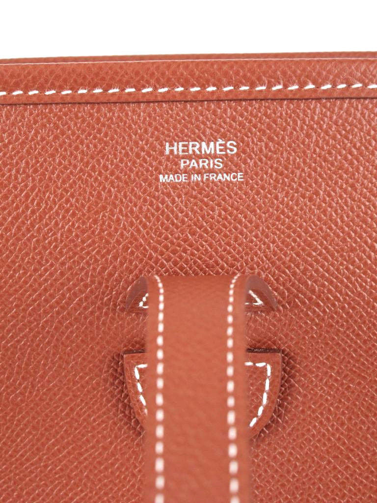 Hermes New Evelyne Brick Leather Shoulder Bag in Box with Hermes Duster