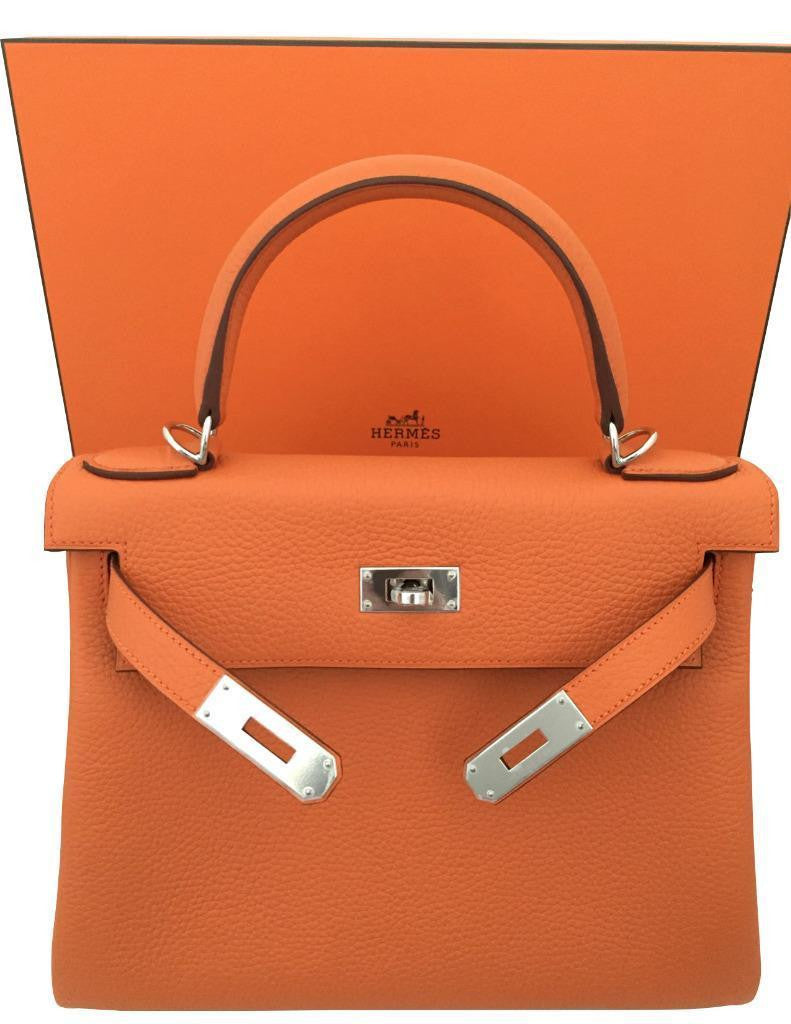 Hermes New Orange Clemence 28cm Kelly Bag with Palladium Hardware