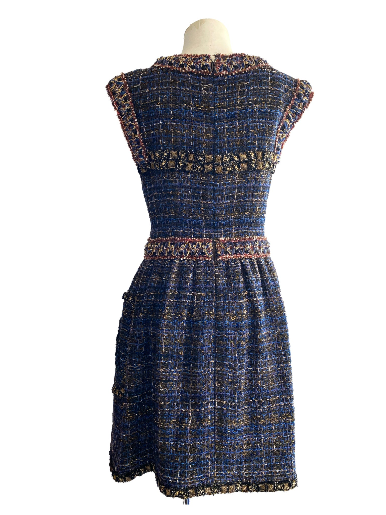 Chanel Vintage 2001 Byzantine Navy Boucle Dress size 40