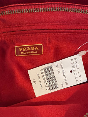 Prada Red Silk Pleated Clutch