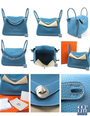 HERMES 34cm Lindy Blue Jean Clemence with Palladium New with Box Q Stamp