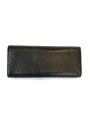 Gucci Black Snakeskin Clutch with Jeweled Clasp