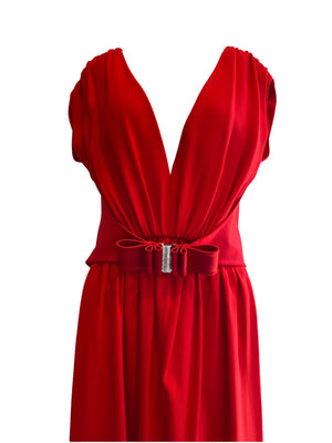 Valentino Red Silk Crepe Evening Dress Size 10