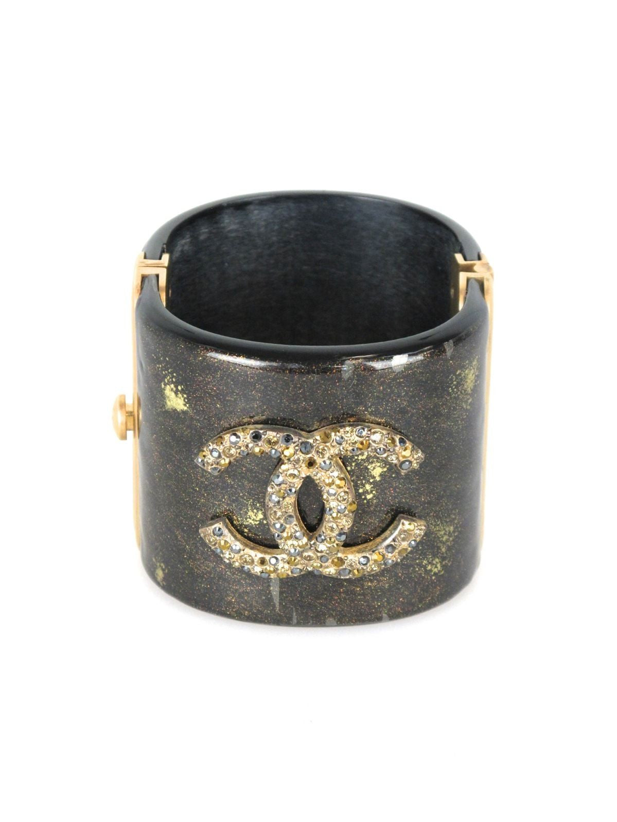 CHANEL Black and Gold Glitter Resin Jeweled Cuff Bracelet 2007 Autumn