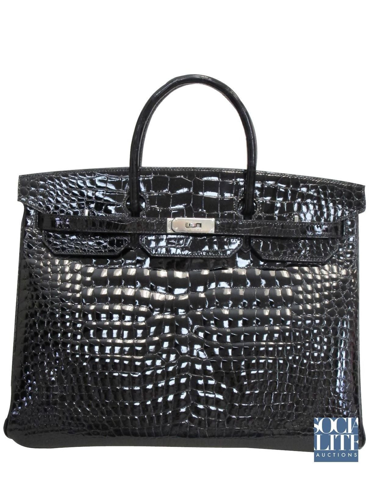 HERMES Birkin 40cm Black Porosus Crocodile with Palladium Hardware