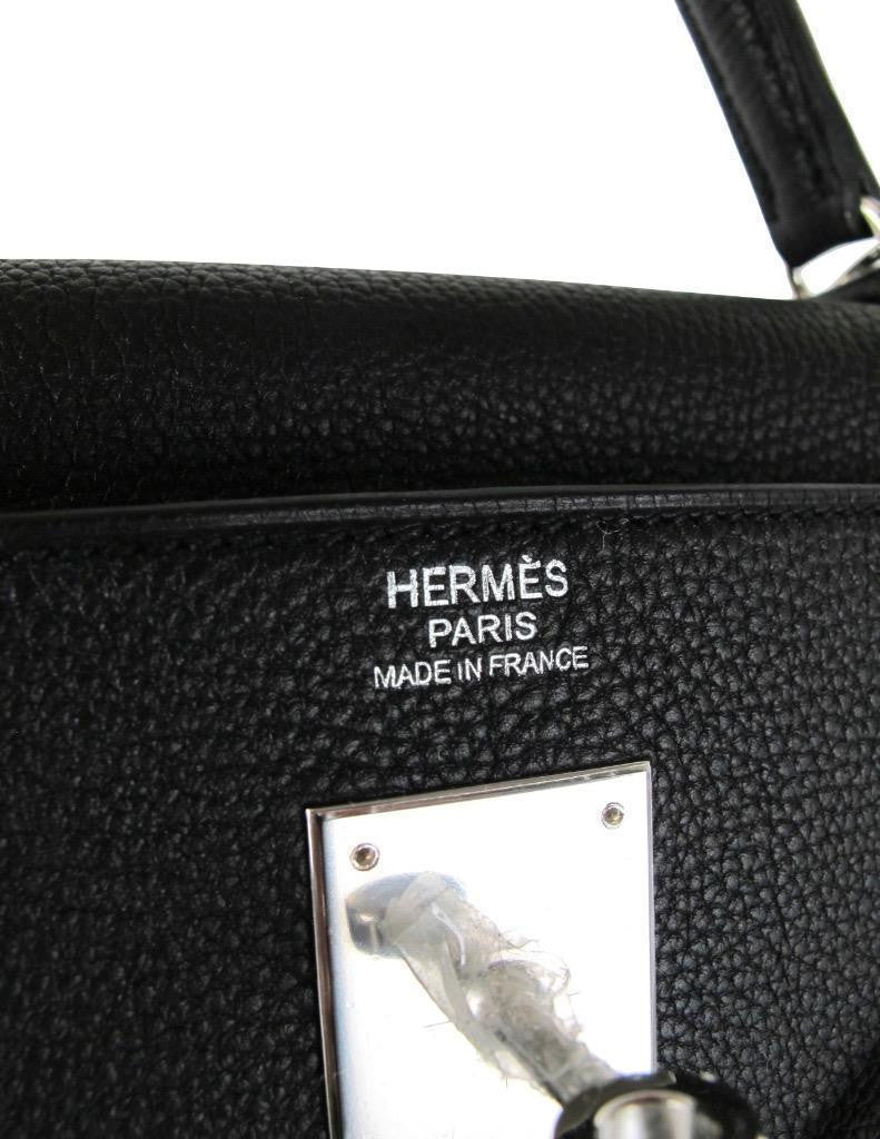HERMES Kelly 32cm Black Noir Togo Leather with Palladium R Stamp with Box