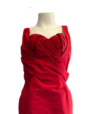 Oscar de la Renta Red Silk Bow Gown Size 10