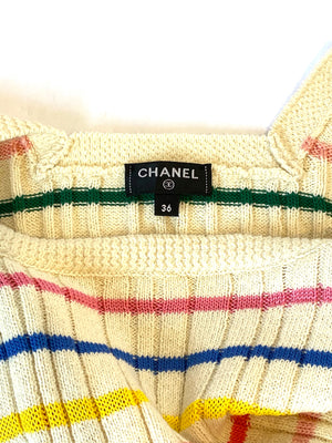 Chanel Striped Knit Dress Size 36